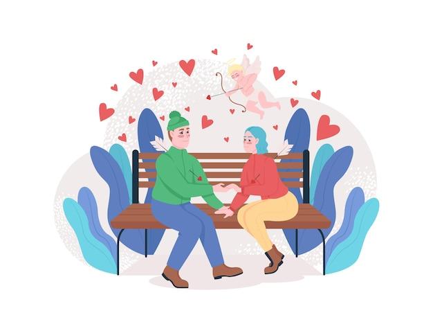 Jungen und mädchen verlieben sich in web-banner, poster. Premium Vektoren