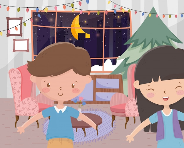 Jungen- und mädchenwohnzimmer mit baum beleuchtet frohe weihnachten der feier Premium Vektoren