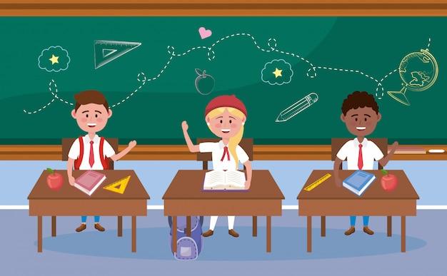 Jungen und studentinnen im schreibtisch mit büchern Kostenlosen Vektoren