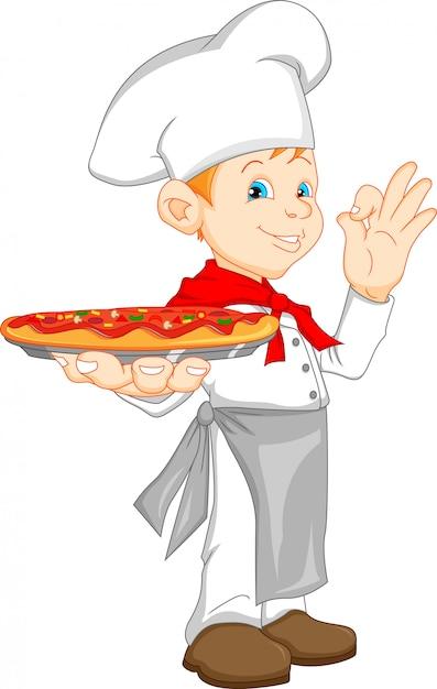 Jungenchefkarikatur, die pizza hält Premium Vektoren