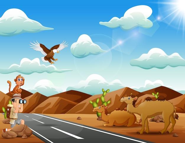 Jungenforscher mit vielen tieren in der sonnigen wüste Premium Vektoren