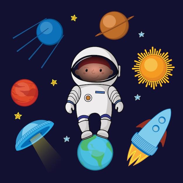 Jungenraumfahrer im raum, raketen-ufo-planetensterne Premium Vektoren
