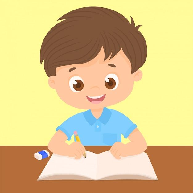 Jungenschreiben an seinem schreibtisch Premium Vektoren