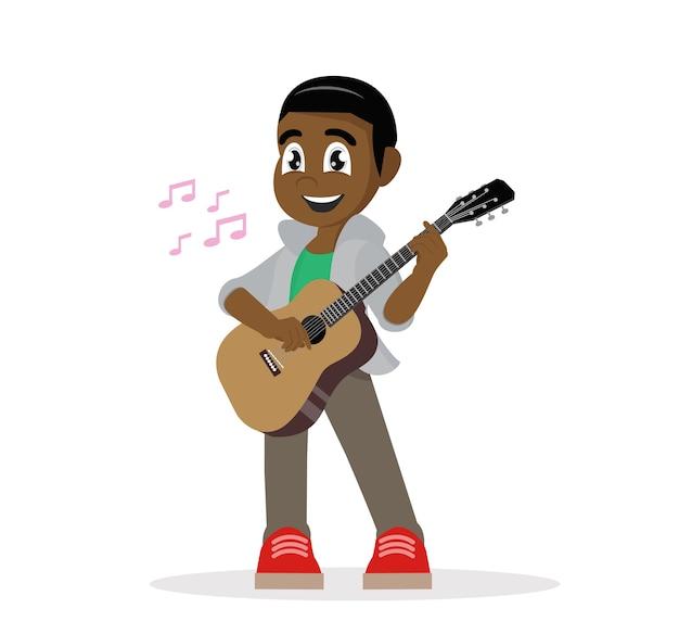 Junger afrikanischer mann, der gitarre spielt. Premium Vektoren