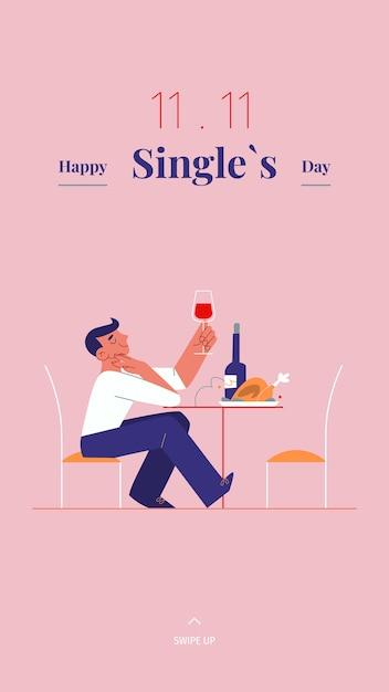 Junger alleinstehender mann feiert singles tag - mit wein und brathähnchen Premium Vektoren