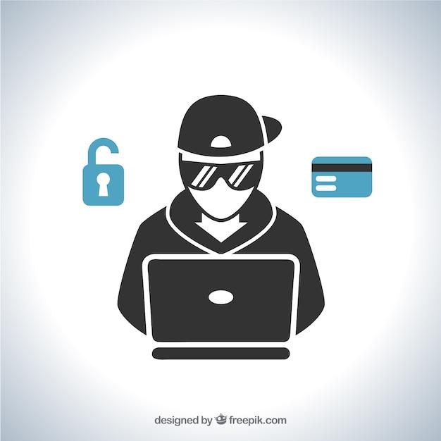 Junger anonymer hacker mit flachem design Kostenlosen Vektoren