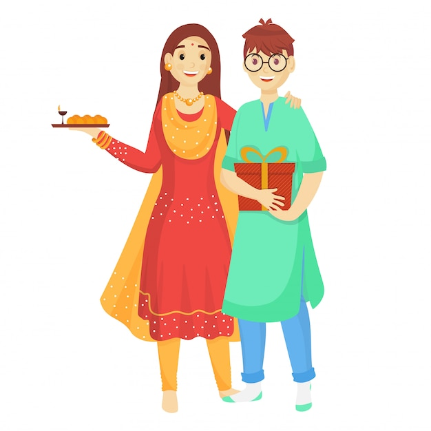 Junger bruder und schwester, die anlässlich raksha bandhans feiern. Premium Vektoren