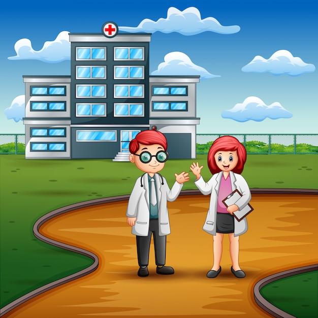 Junger doktor und krankenschwester, die vor dem krankenhaus steht Premium Vektoren