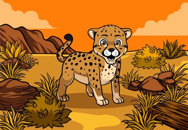 Junger gepard in der savanne Premium Vektoren