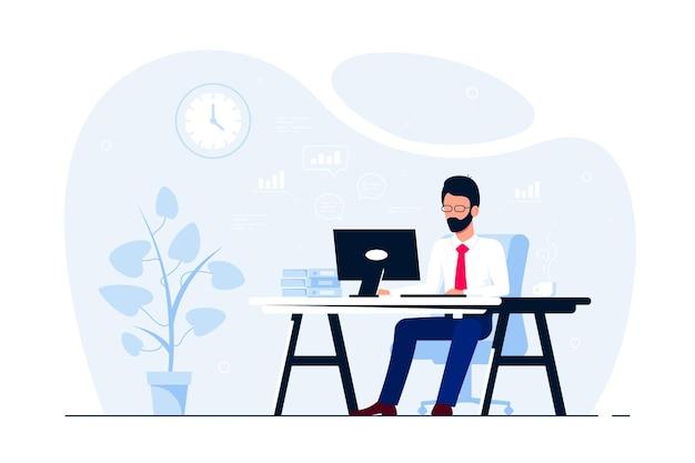 Junger geschäftsmann, der am computer am schreibtisch im büro arbeitet. flache artillustration Premium Vektoren