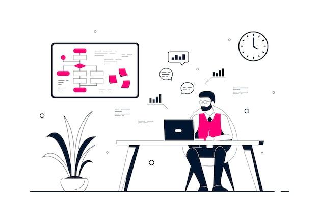Junger geschäftsmann, der am laptop am schreibtisch im büro arbeitet. flache art strichzeichnungen illustration Premium Vektoren