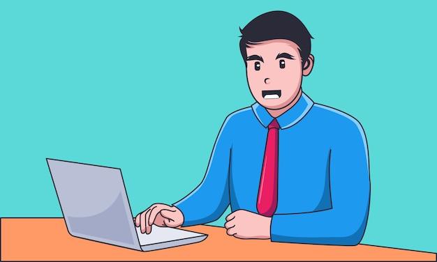 Junger geschäftsmann, der an laptop arbeitet Premium Vektoren