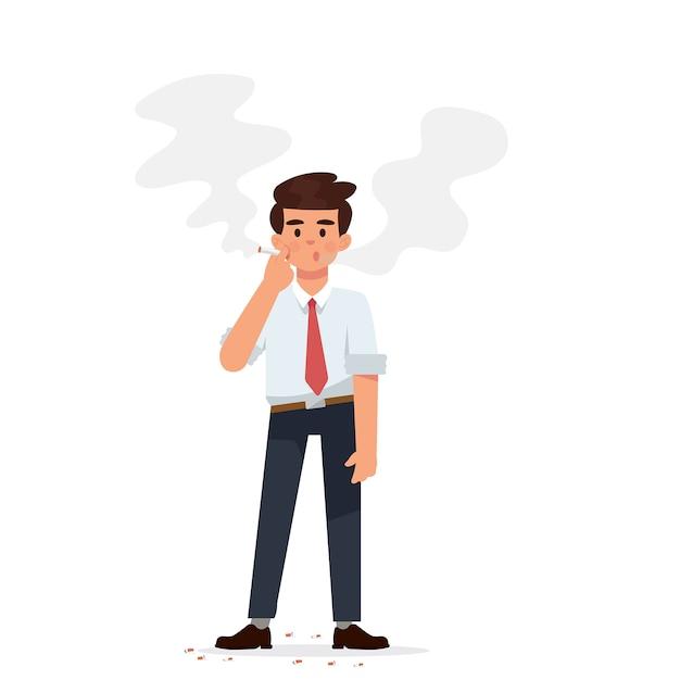 Junger geschäftsmann steht und raucht zigarette Premium Vektoren