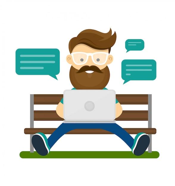 Junger hippie-mann mit dem bart und gläsern, die auf der bank mit laptop-computer sitzen und verwenden wifi internet für chat mit freunden. Premium Vektoren