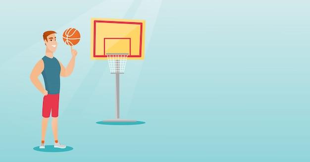 Junger kaukasischer basketball-spieler, der eine kugel spinnt. Premium Vektoren