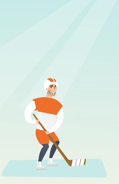 Junger kaukasischer eishockeyspieler. Premium Vektoren