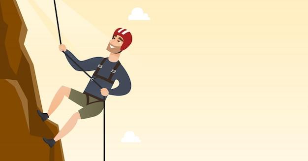 Junger kaukasischer mann, der einen berg mit seil klettert Premium Vektoren