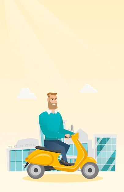 Junger kaukasischer mann, der einen roller reitet. Premium Vektoren