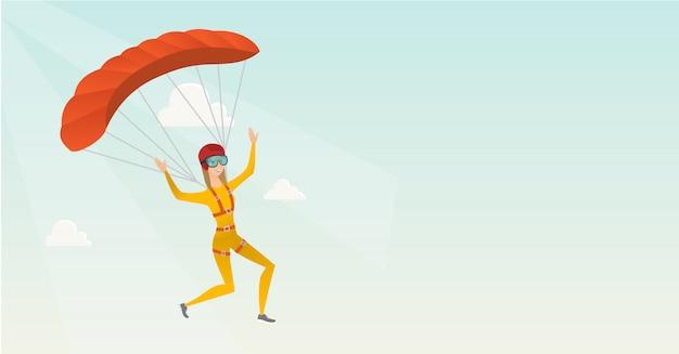 Junger kaukasischer skydiver, der mit einem fallschirm fliegt Premium Vektoren
