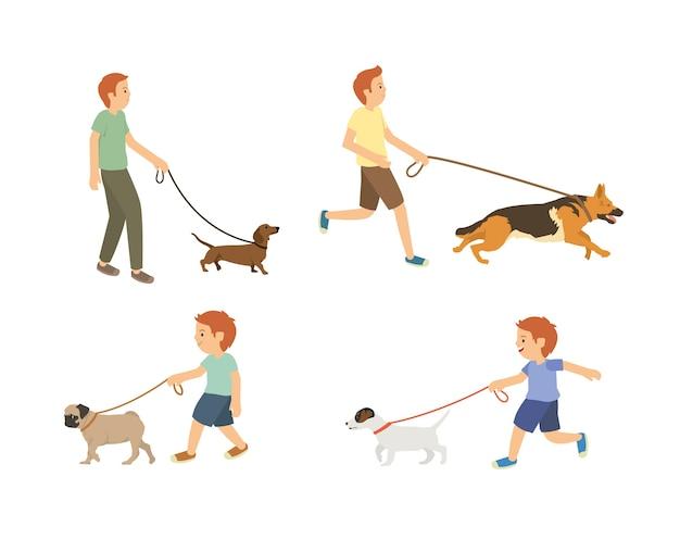 Junger kerl und kinder, die mit hundevektorsatz gehen Premium Vektoren