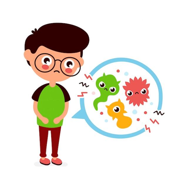 Junger kranker mann, der magenschmerzen, lebensmittelvergiftung, magenprobleme, bauchschmerzen hat. flache cartoon charakter illustration.medical, bakterien, keime Premium Vektoren