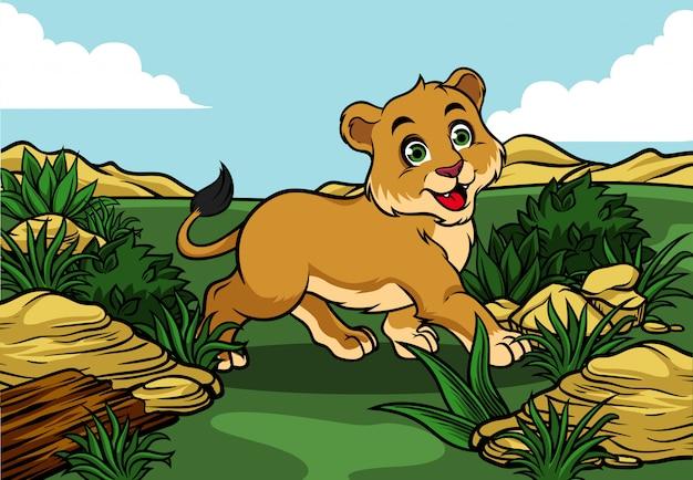 Junger löwe, der in den dschungel geht Premium Vektoren