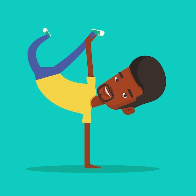 Junger mann breakdance. Premium Vektoren