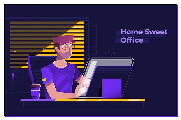 Junger mann, der an modernem dachbodenbüro nachts arbeitet Premium Vektoren