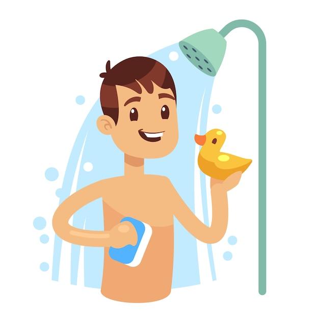 Junger mann, der dusche im badezimmer nimmt. guy wäscht sich. morgen hygiene vektor konzept. duschen mit shampooschaum und blasenillustration Premium Vektoren