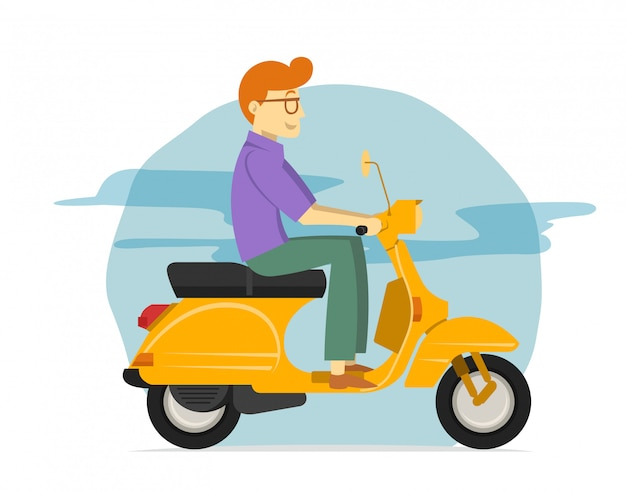 Junger mann, der gelbes rollermotorrad reitet Premium Vektoren