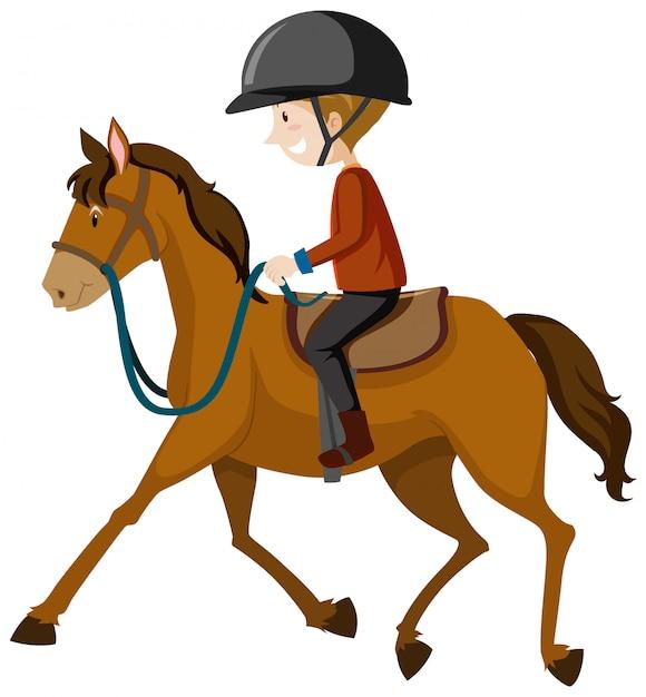 Junger mann, der helm oder reiter trägt, die einen pferdekarikatur lokalisiert reiten Kostenlosen Vektoren