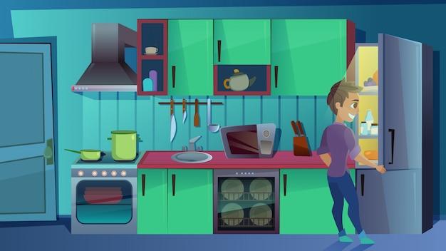 Junger mann, der innerhalb des kühlschranks auf küche aufpasst Premium Vektoren