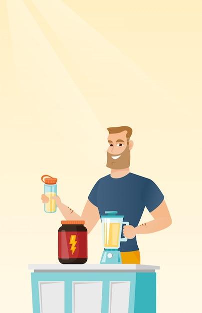 Junger mann, der proteincocktail macht. Premium Vektoren