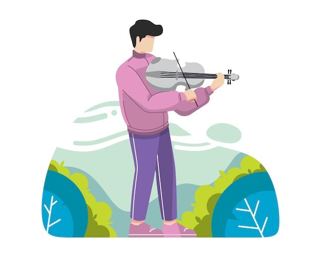 Junger mann, der violinenvektorillustration spielt Premium Vektoren