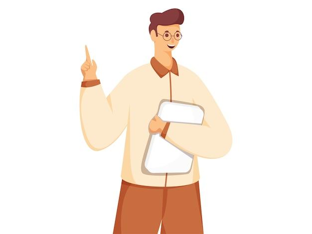 Junger mann hält buch oder datei mit zeigefinger punkt in stehender pose. Premium Vektoren