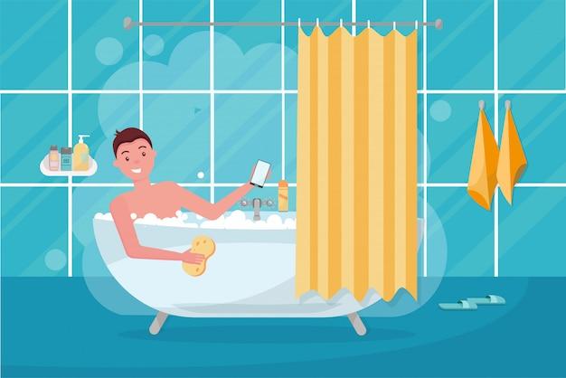 Junger mann im badewannenblasenschaum. badezimmerhauptinnenraum mit bad in der fliese mit duschvorhang. kerl, der waschlappen hält und smartphone verwendet Premium Vektoren