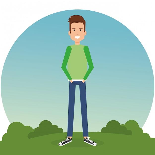 Junger mann im park Kostenlosen Vektoren