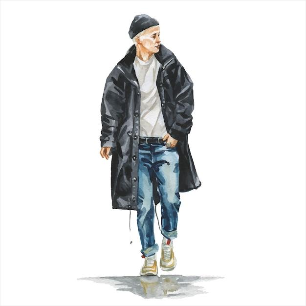 Junger mann im stilvollen trendigen outfit Premium Vektoren