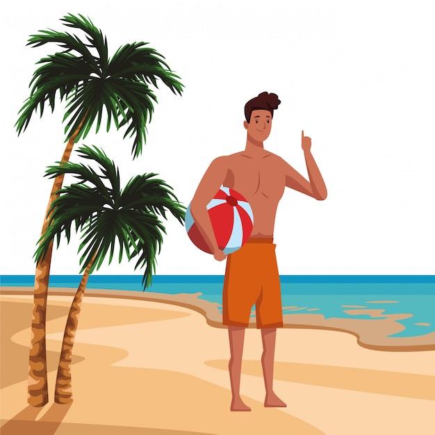 Junger mann in der sommerzeitkarikatur Kostenlosen Vektoren