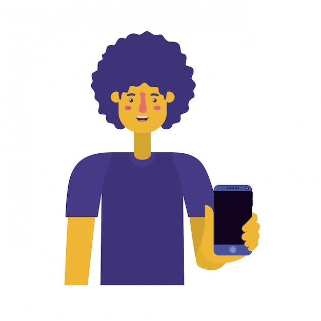 Junger mann mit afro und smartphone Premium Vektoren