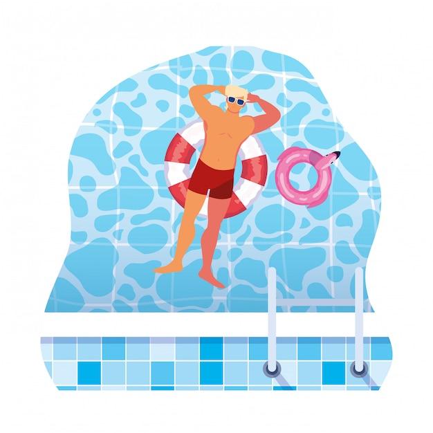 Junger mann mit badeanzug und schwimmleibwächter im wasser Premium Vektoren