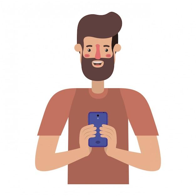 Junger mann mit bart und smartphone Premium Vektoren