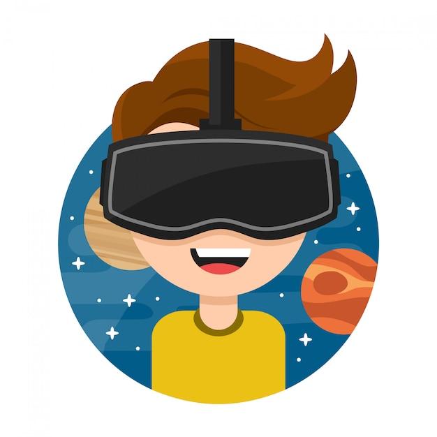 Junger mann mit brille der virtuellen realität. flache symbol cartoon charakter abbildung. neue gaming cyber-technologien. brille vr. platz. isoliert auf weiss Premium Vektoren