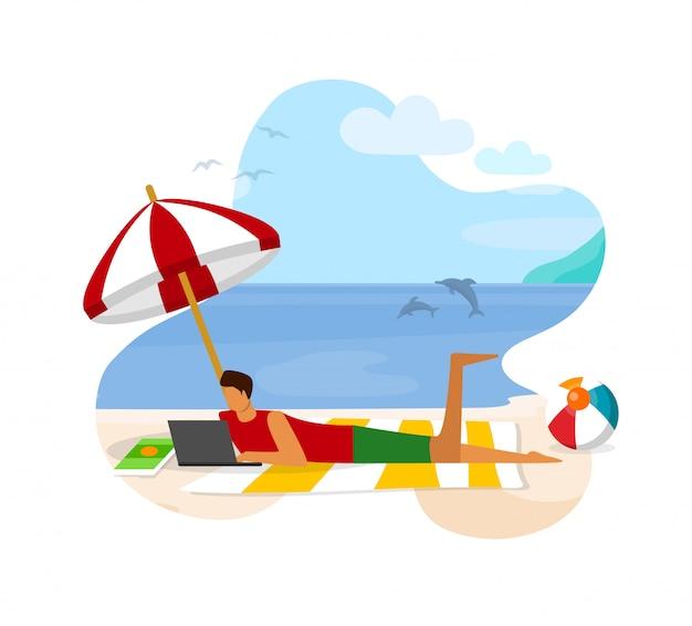 Junger mann mit dem laptop, der auf sandy beach working liegt Premium Vektoren
