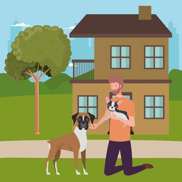 Junger mann mit nettem hundemaskottchen im haus im freien Premium Vektoren