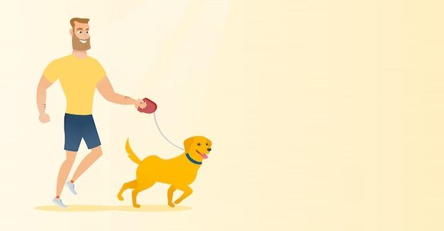Junger mann mit seinem hund spazieren. Premium Vektoren