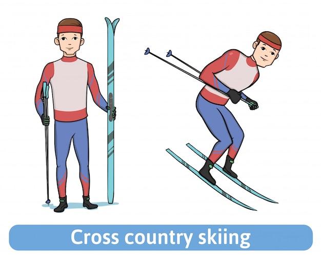 Junger mann mit ski. skifahrer stehend und rennend. langlauf, wintersport, aktive erholung. Premium Vektoren