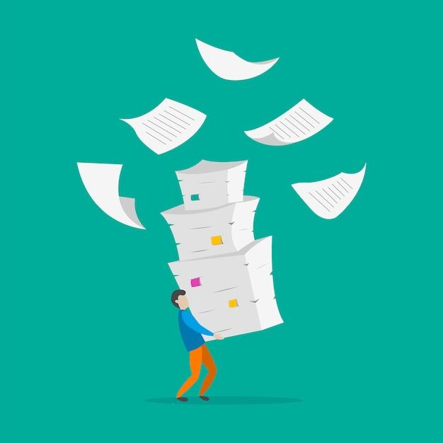 Junger mann mit stapel von dokumenten. Premium Vektoren