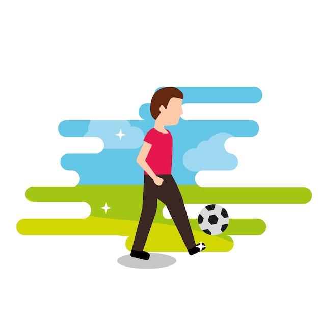 Junger Mann Spielt Mit Fussball Ballsport Premium Vektor