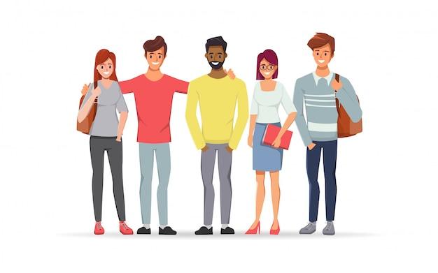 Junger mann und frau sind gelehrter student mit freundschaft. Premium Vektoren